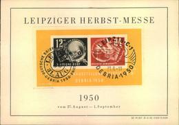 1950, DEBRIA - Block Mit 2 Verschiedenen Sonderstempeln Auf Sonderkarte Der LEIPZIGER MESSE: - Sin Clasificación