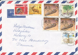 Zimbabwe Air Mail Cover Sent To Denmark Topic Stamps - Zimbabwe (1980-...)