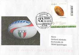 Germany Cover Franked W/Rugby Ball Für Den Sport 85+40 Posted Essen 2015 Briefmarkenmesse (G135-27) - Rugby