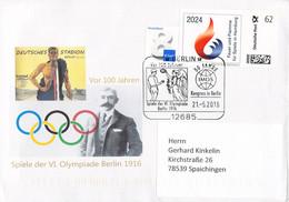 Germany Cover Franked W/Individuell Marke Für Und Flamme Für Spiele In Hamburg 2004 - Host Of The 2024 Olympics - Summer 2024: Paris
