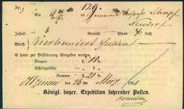 1868, Fahrpostschein Von Alzenau - Bavaria