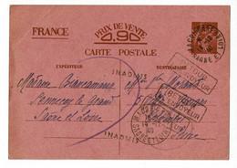 """Griffes """"Retour à L'envoyeur & Inadmis"""" Circ 1940 Sur Carte Correspondance Inter-zone, Type Iris - Guerra Del 1939-45"""