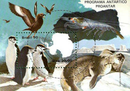 BRAZIL #2235  -  ANTARTIC  RESEARCH PROGRAM PROANTAR  S/S  - BIRDS - PENGUIN - SEA LIONS - 1990  - MINT - Unused Stamps