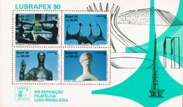 BRAZIL #2235  -  LUSO BRAZILIAN PHILATELIC EXHIBITION LUBRAPEX 90 - SCULPTURES BY A. CESCHIATTI AND B. GIORGI - 1990 - M - Unused Stamps