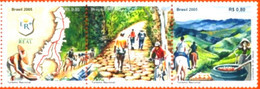 BRAZIL #2991 - ROYAL ROAD, TREASURE PRESERVED BY NATURE- FAUNA - COLONIAL HISTORY - HORSES - GOLD 3v  -  2005 - MINT - Unused Stamps
