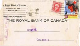 41254. Carta BARCELONA 1937. CENSURA Republicana. Guerra Civil. Viñeta, Label  CRUZ ROJA - 1931-50 Storia Postale