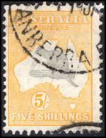 Australia 1931-36 5s Grey And Yellow Wmk CofA Used. - Oblitérés