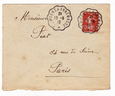 Lettre 1915 Samoëns à Annemasse Haute Savoie Cachet Ambulant Semeuse 10 Centimes - Briefe U. Dokumente