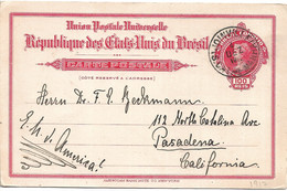 Brazil Stationary Card Used To California - Postal Stationery