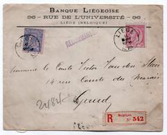 COB 46 + 48 - 1889 -- Recommandé - LIEGE à GAND - Banque Liégeoise 36 Rue De L'Université - - 1884-1891 Leopoldo II