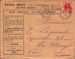Lettre D Algerie, Batna, Constantine, Miel D Algerie, Timbre Surchargé Pour La France, Le Muy, 1940  (bon Etat) - Algerije (1962-...)