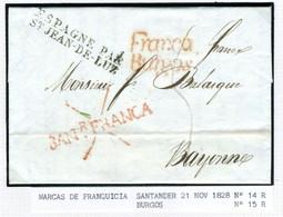 ESPAGNE SANTANDER 1828  Marques FRANCA  BURGOS Et SANTANDER  Vers BAYONNE  PR31 - ...-1850 Prephilately