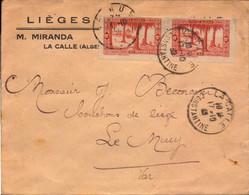 Lettre D Algerie, La Calle, Constantine, Lieges M. Miranda Pour La France, Le Muy, 1939  (bon Etat) - Algerije (1962-...)
