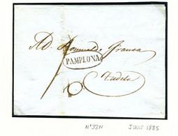 ESPAGNE Lettre Avec Texte De  PAMPLONA  1835   Vers TUDELA   PR32 - ...-1850 Voorfilatelie