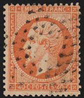 N°23, Oblitéré étoile évidée Paris - TB - Napoléon 40c Orange 1862 - 1862 Napoleone III