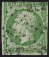 France N°12, 5c Vert, Oblitéré Ambulant ML2 - COTE 95€ - 1853-1860 Napoleon III