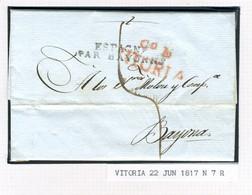 ESPAGNE Lettre Avec Texte De  VITORIA  1817  Vers GAND  BELGIQUE  PR34 - ...-1850 Vorphilatelie