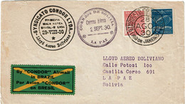 CTN70 - BRESIL  LETTRE AVION PAR SYNDICATO CONDOR RIO DE JANEIRO / LA PAZ 29/8/1930 - Airmail (Private Companies)