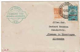 CTN70 - BRESIL  LETTRE AVION 1ER VOL BRESIL-EUROPE GRF ZEPPELIN PAR PARANA CORREIO CURITIBA / JLMENAU 31/8/1931 - Airmail (Private Companies)