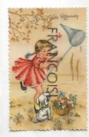Bonne Fête Maman. Petite Fille, Filet à Papillons Et Petit Chien. Photochrom Glacée - Moederdag