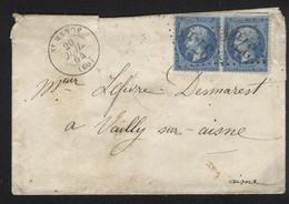 MeF Frankreich Mi 21 Gest 20,7.1864 St Mande + Nummernstempel Fernbrief Mit Siegel HK211 - 1862 Napoleone III