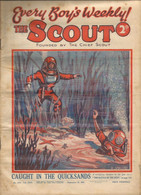 PN / RARE  Revue Ancienne SCOUT 1933  Cover DEEP SEA DIVER SCAPHANDRIER Caught In The Quicksands - Cultural
