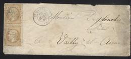 MeF Frankreich Mi 20 Gest 16.3..1866 St Mande + Nummernstempel Fernbrief Mi HK212 - 1862 Napoleone III