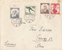 DR Brief Mif Minr.589 OR, 600, Zdr. Minr.K26 UR Mannheim 9.12.35 Gel. In Schweiz - Covers & Documents