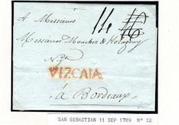 ESPAGNE Lettre Avec Texte De SAN SEBASTIAN VIZCAYA  1789  Vers  BORDEAUX  PR42 - ...-1850 Voorfilatelie