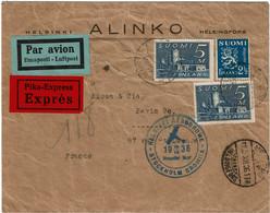 CTN70 - FINLANDE  LETTRE AVION  EXPRES POUR PARIS DECEMBRE 1936 - Brieven En Documenten