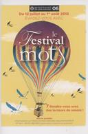 Le Festival Des Mots 2015, Rendez-vous Avec Des Lecteurs De Renom (montgolfière Hirondelle) Département 06 Cp Vierge - Sonstige Gemeinden