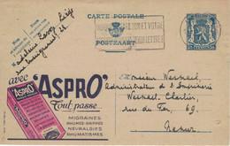 Ganzsache Publibel 578 - Aspro Aspirin Salix Weide Migräne Grippe Erkältung Neuralgie - Liege 1945 - Publibels