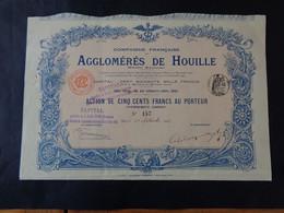FRANCE - 75 - PARIS 1902 - AGGLOMERES DE HOUILLE - ACTION DE 500 FRS - IMPRIMERIE RICHARD - Ohne Zuordnung