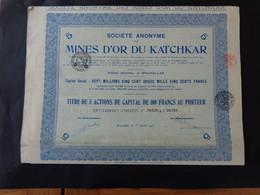 RUSSIE - 3 TITRES IDENTIQUES - SA DES MINES D'OR DU KATCHKAR - TITRE DE 5 ACTIONS DE 100 FRS  - BRUXELLES 1923 - Sin Clasificación