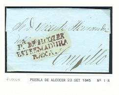 ESPAÑA  Carta De PUEBLA DE ALCOCER ESTREMADURA BAXA  1845 Hasta TRUJILLO PR 50 - ...-1850 Prephilately