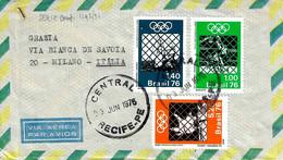 BRASILE - 1976 RECIFE Busta Affrancata Con Serie Compl.3v. Olimpiadi Montreal Viaggiata Per L'Italia - 5404 - Covers & Documents