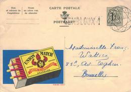 Ganzsache Publibel 1252 - Union Match Zündholz-Schachtel Fackel Schwefel-Hölzchen Flamme - Gembloux Diamant-Stempel 1954 - Publibels