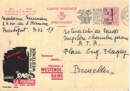 Ganzsache Publibel 2055 - La Fourmi Ameise Appartment Villa Ferien-Wohnung Westende-Bains - Lilien Brüssel 1965 - Publibels