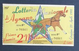 67982 27/ Biglietto LOTTERIA NAZIONALE Agnano 1995 - Lottery Tickets