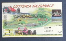 67983 26/ Biglietto LOTTERIA NAZIONALE Formula 1 San Marino Imola 1995 - Lottery Tickets