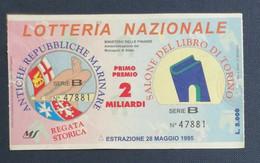 67984 25/ Biglietto LOTTERIA NAZIONALE Salone Libro Torino 1995 - Lottery Tickets