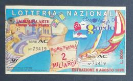 67988 22/ Biglietto LOTTERIA NAZIONALE Taormina Arte Centomiglia Del Garda 1995 - Lottery Tickets