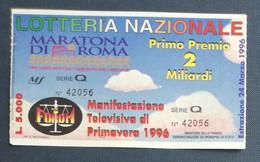 67995 16/ Biglietto LOTTERIA NAZIONALE Maratona Roma Manifestazione Primavera 96 - Lottery Tickets