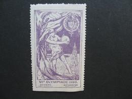 Vignette Label Stamp - Vignetta Aufkleber Belgique Jeux Olympiques VII Olympiade 1920 Anvers Antwerpen - Commemorative Labels