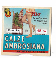 CARD SEGNA ORARIO PARKING  PUBBLICITA' CALZE AMBROSIANA IN FILATO AMBRON (BIG) AUTOREGGENTI 2 SCAN -2-0882-30058-57 - Reclame