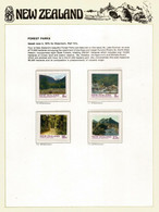 New-Zealand's Beautiful Forest Parks Set. MNH/neuf ** On N-Z  Official Presentation Sheet - Errors, Freaks & Oddities (EFO)