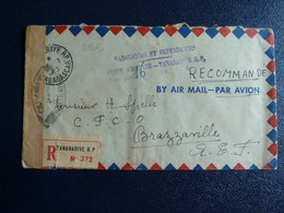 M4 - Madagascar Et Dépendances - Poste Aerienne Tananarive Taxe Perçue Sur Lettre Censurée Recommandée 1945 - Wars