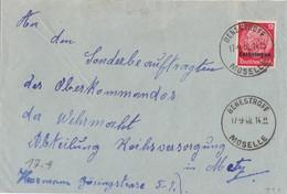 Lettre  Obl. Benestroffl Moselle (T 203) Le 17/9/40 Sur TP Lotringen 12pf Pour Metz - Alsace Lorraine