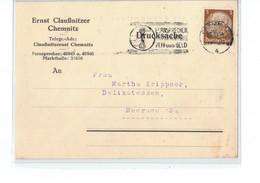 Perfin !!! - DR Postkarte Chemnitz Nach Meerane - O 1934 - Ernst Claußnitzer Fisch Delikateß Südfrucht Handlung - Covers & Documents