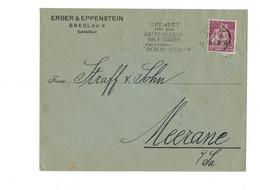 Perfin !!! - DR Brief Breslau Nach Meerane - O 1921 - Erber & Eppenstein - Covers & Documents